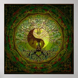 Yin verde Yang com a árvore de vida Pôster