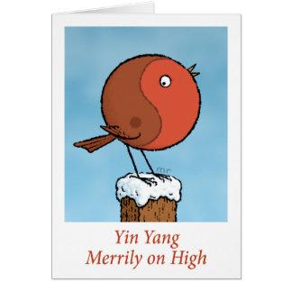 Yin Yang alegre no cartão alto