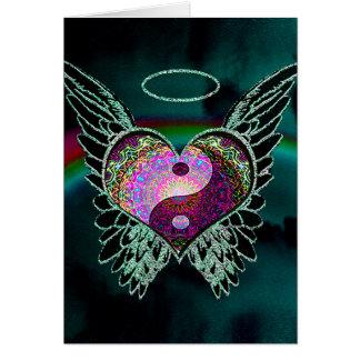 Yin Yang, asas do anjo e coração Cartão Comemorativo
