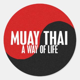 Yin Yang Muay 1 tailandês Adesivo Redondo