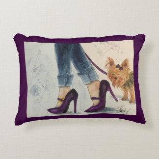 Yorkie & travesseiro da aguarela dos estiletes almofada decorativa