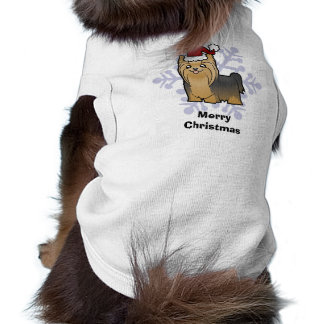 Yorkshire terrier do Natal (cabelo longo com arco) Camisa Sem Mangas Para Cachorro