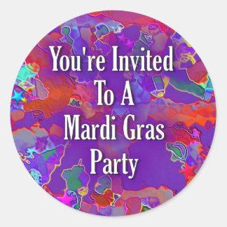 You&apos're convidou a um partido do carnaval adesivos redondos