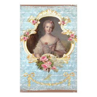 Young Queen Marie Antoinette Pink Roses Invitation Stationery Paper