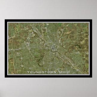 Youngstown Ohio da arte do satélite do espaço Poster