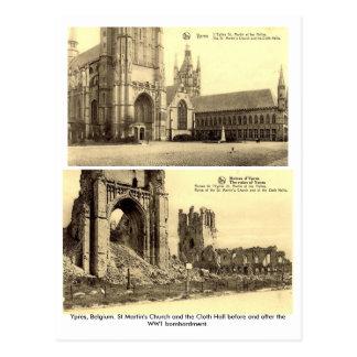 Ypres, Bélgica - cartão do bombardeio WW1