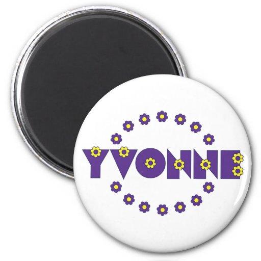 Yvonne no roxo de Flores Imãs De Geladeira