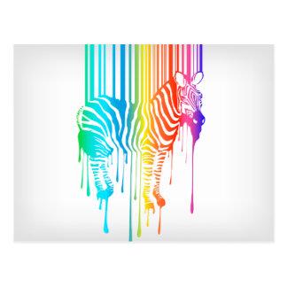 Zebra abstrata com código de barras cartão postal