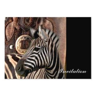 zebra animal do impressão do safari rústico convite personalizado