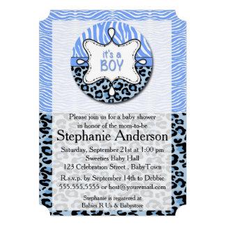 Zebra azul, convites do chá de fraldas do menino