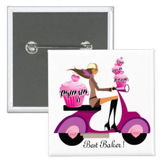 Zebra bonito do rosa de botão da menina do patinet pins