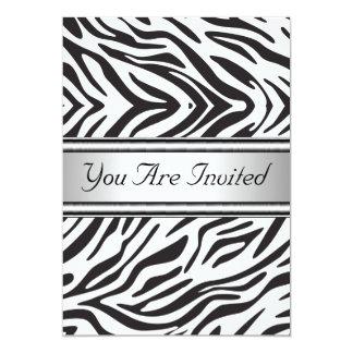 Zebra branca preta da festa de aniversário da convite 12.7 x 17.78cm