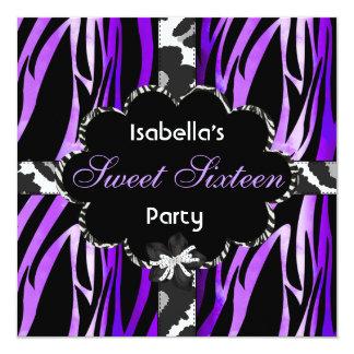 Zebra branca preta roxa da festa de aniversário do convites personalizado