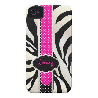 Zebra branca/rosa de PixDezines+Cor de Black/DIY Capinhas iPhone 4