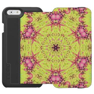 Zebra cor-de-rosa amarela fluorescente capa carteira incipio watson™ para iPhone 6