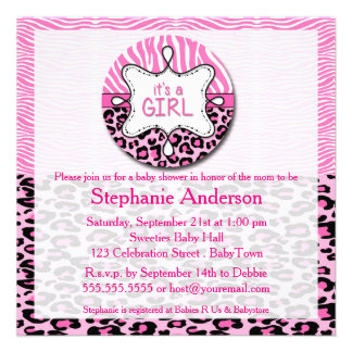 Zebra cor-de-rosa, convites do chá de fraldas da