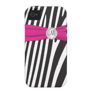 Zebra cor-de-rosa, preta, branca Monogrammed listr Capa Para iPhone 4/4S