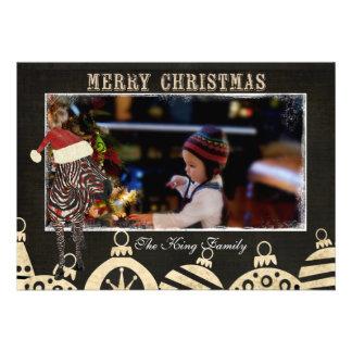 Zebra cor-de-rosa preta & cartões de foto de Natal Convites