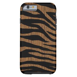 Zebra da madeira da modificação capa tough para iPhone 6