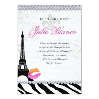 Zebra da torre Eiffel do cartão de Paris da festa Convites Personalizados