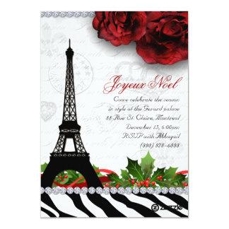Zebra da torre Eiffel do cartão de Paris do Natal Convite 12.7 X 17.78cm