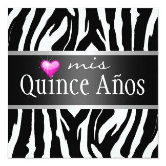 Zebra de Quinceañera do hipster Convite Quadrado 13.35 X 13.35cm