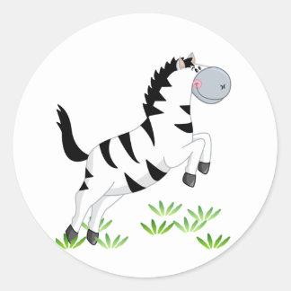 Zebra de salto adesivos em formato redondos