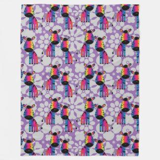 Zebra do arco-íris cobertor de lã