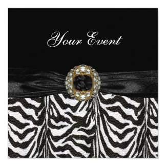 Zebra do branco do preto da jóia do diamante do convite personalizados