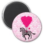 Zebra do vintage & balões cor-de-rosa do coração imas
