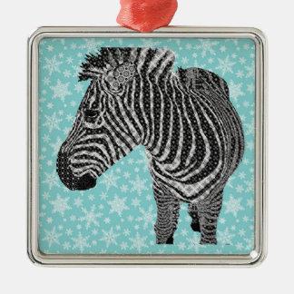 Zebra do vintage ornamento quadrado cor prata