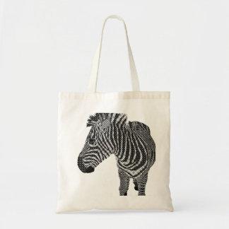Zebra do vintage sacola tote budget