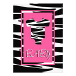 Zebra e convite cor-de-rosa do chá de fraldas da r