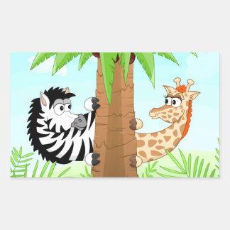 Zebra e girafa escondendo adesivo retângular
