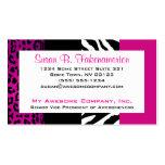 Zebra e leopardo animais do impressão do rosa quen cartões de visitas