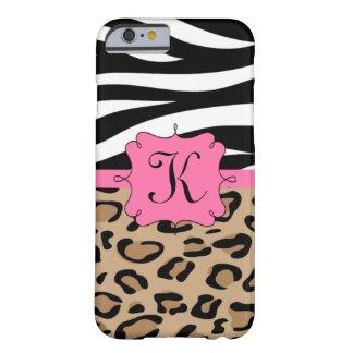 Zebra e monograma personalizado leopardo capa barely there para iPhone 6