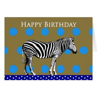 Zebra em um fundo manchado, feliz aniversario cartão comemorativo