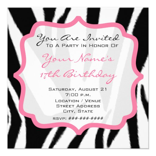 Zebra & festa de aniversário cor-de-rosa convites