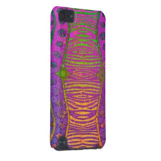 Zebra fluorescente verde alaranjada roxa capa para iPod touch 5G