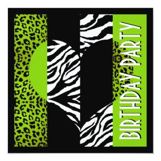 Zebra preto e branco do leopardo animal do verde convite quadrado 13.35 x 13.35cm