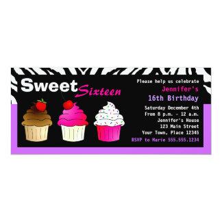 Zebra roxa & cor-de-rosa do partido do doce convite personalizado
