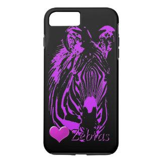 Zebra roxa do coração (preto) capa iPhone 7 plus