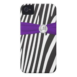 Zebra roxa, preta, branca Monogrammed listrada Capinhas iPhone 4