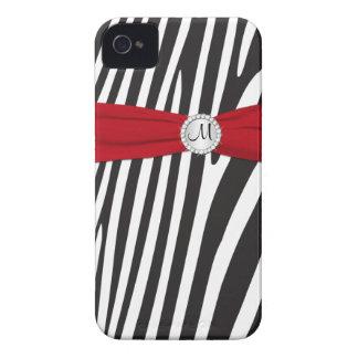 Zebra vermelha, preta, branca Monogrammed listrada Capa Para iPhone 4 Case-Mate