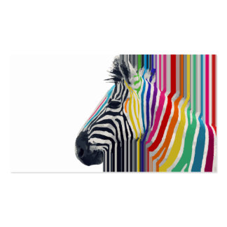 zebra vibrante colorida na moda impressionante das cartoes de visita