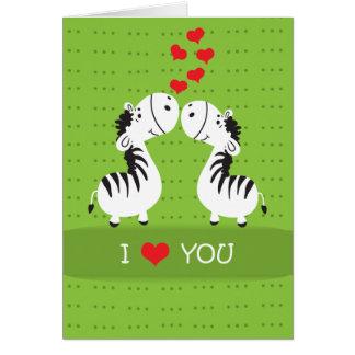 Zebras bonitos do dia dos namorados feliz com cartão comemorativo