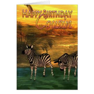 Zebras do primo do feliz aniversario na água cartão comemorativo