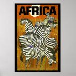 Zebras dos posteres de viagens de África