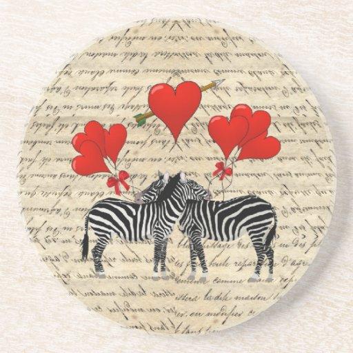Zebras e coração do vintage porta-copo