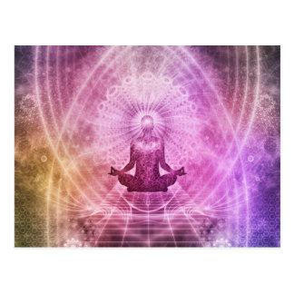 Zen espiritual da meditação da ioga colorido cartão postal